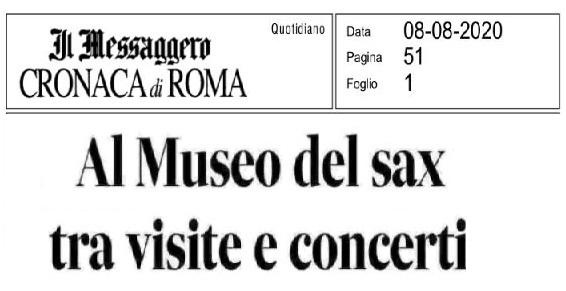 Articolo di Valentina Venturi da IL MESSAGGERO di Roma 8.8.2020